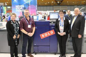 Monotone Art Printers Stu White and Caroline Percival with Konica Minolta's Sue Threlfo and Dr David Cooke